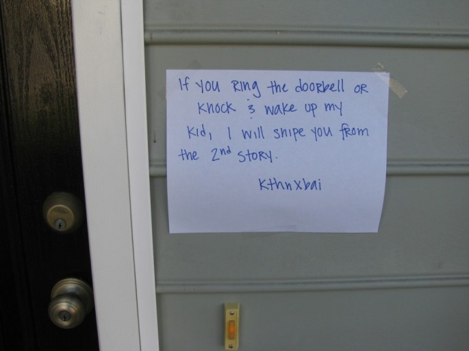 10 Funny Door Notes From Moms Who Do Not Want To Be