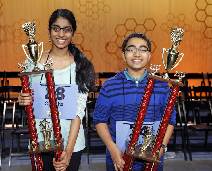 Houston-Public-Media-Spelling-Bee-winnersShobha-Dasari-from-McCullough-Jr.-High-and-Siddarth-Krishnakumar-from-Pearland-Jr.-High_234706