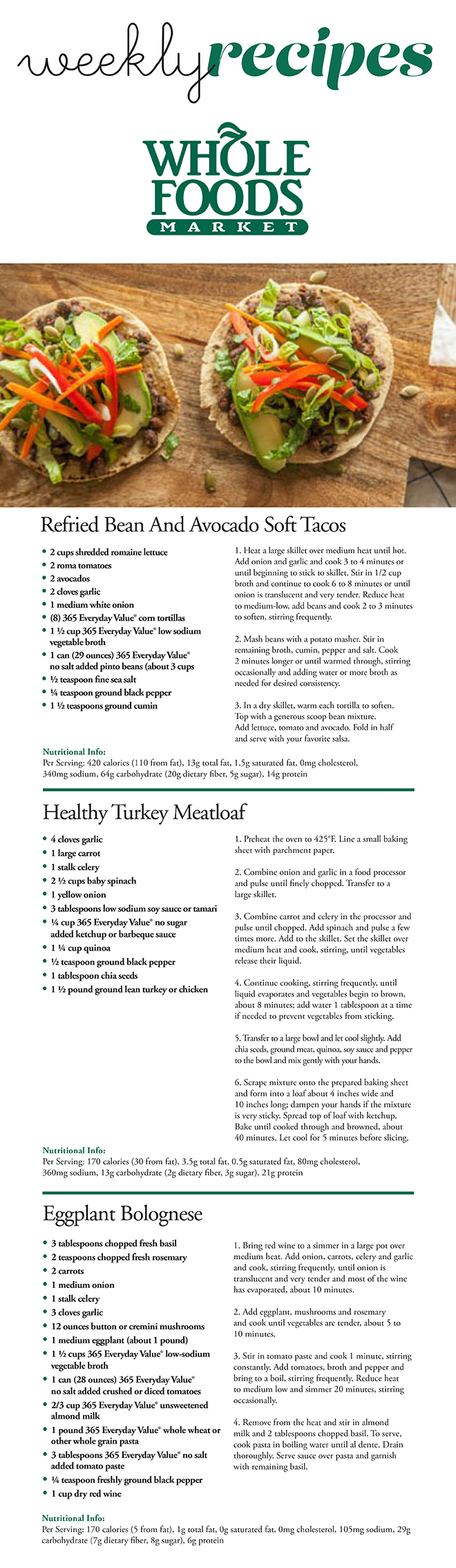 Whole Foods Weekly Recipes
