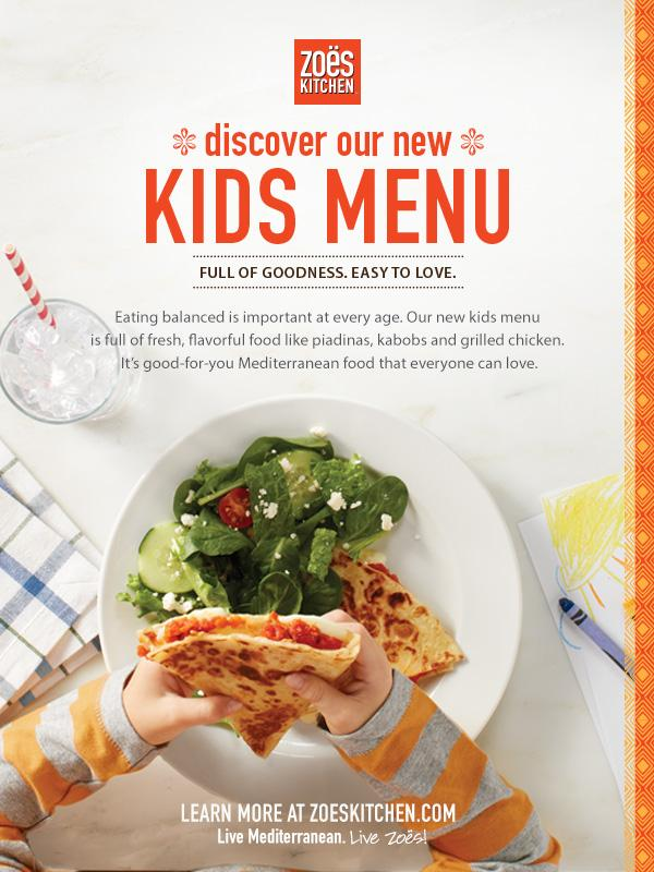 Zoes Kitchen Kids Menu Delectable We Love Zoes Kitchen's New Kids Menu  Houston Family Magazine 2017